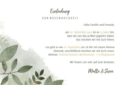 Einladungskarte zum 10. Hochzeitstag mit Foto 3
