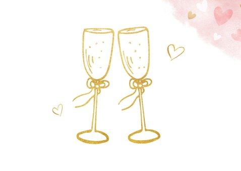 Einladungskarte zum Hochzeitstag Champagnergläser gold 2