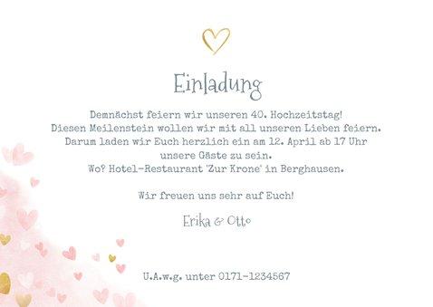 Einladungskarte zum Hochzeitstag Champagnergläser gold 3