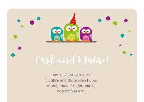Einladungskarte zum Kindergeburtstag grüne Eule 2