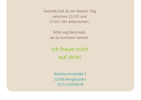 Einladungskarte zum Kindergeburtstag grüne Eule 3
