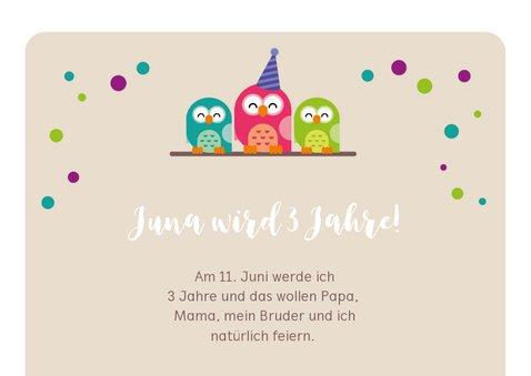 Einladungskarte zum Kindergeburtstag pinke Eule 2
