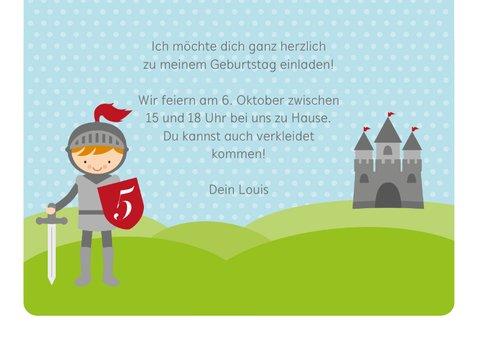Einladungskarte zum Kindergeburtstag Ritter 3