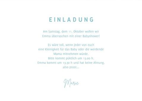 Einladungskarte zur Babyparty blau 3