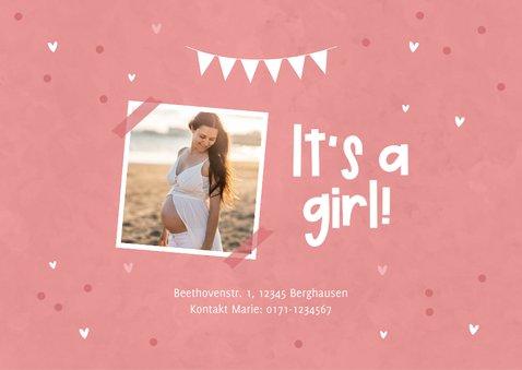 Einladungskarte zur Babyparty rosa 2