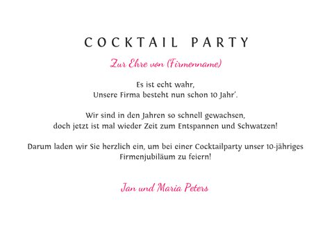 Einladungskarte zur Cocktail Party 3