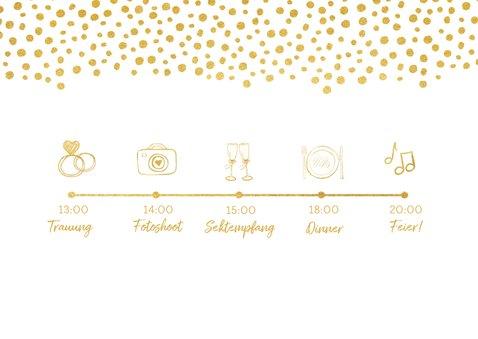 Einladungskarte zur Hochzeit im Goldlook mit Timeline 2