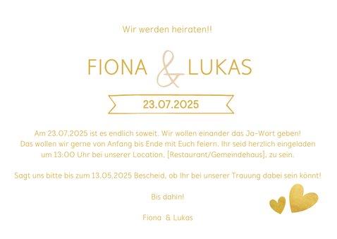 Einladungskarte zur Hochzeit im Goldlook mit Timeline 3