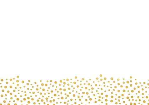 Einladungskarte zur Hochzeit im Goldlook mit Timeline Rückseite
