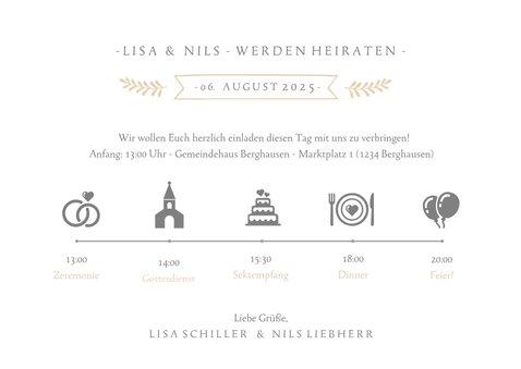 Einladungskarte zur Hochzeit mit Foto und Timeline 3