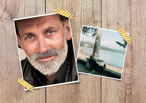 Einladungskarte zur Rentnerfeier mit Foto auf Holz 2