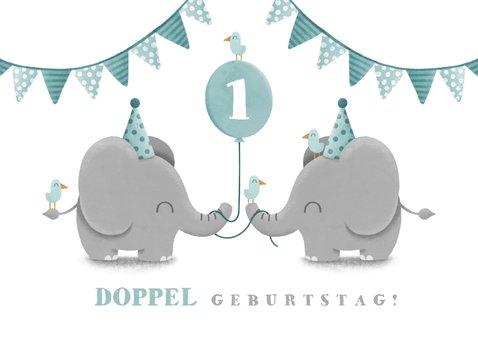 Einladungskarte Zwillinge blau Elefanten mit Luftballon  2