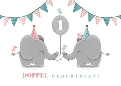 Einladungskarte Zwillinge blau-rosa Elefanten mit Luftballon 2