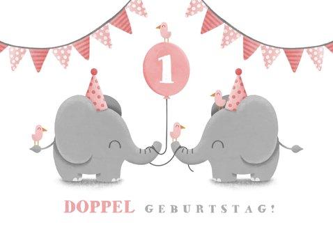 Einladungskarte Zwillinge rosa Elefanten mit Luftballon 2