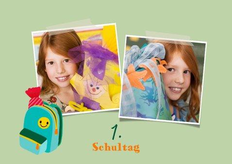 Einschulung Dankeskarte hellgrün Foto & Fuchs 2