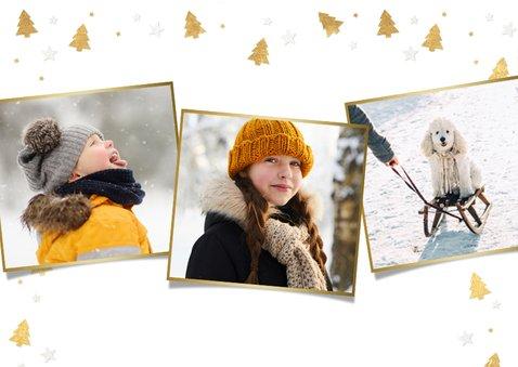 Feestelijke kerstkaart met eigen foto en kerstboompjes kader 2