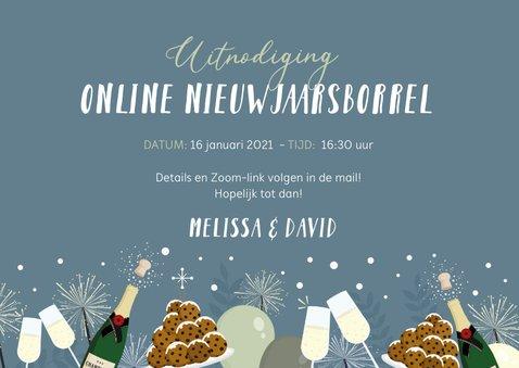 Feestelijke uitnodiging online nieuwjaarsborrel champagne 3