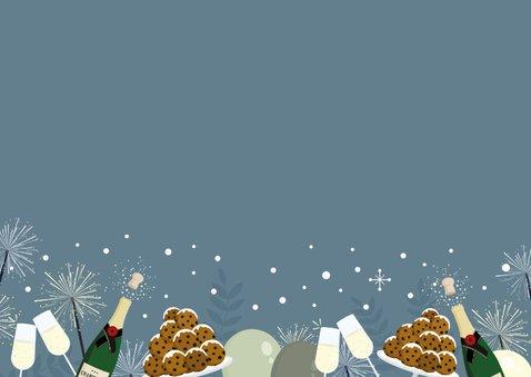 Feestelijke uitnodiging online nieuwjaarsborrel champagne Achterkant