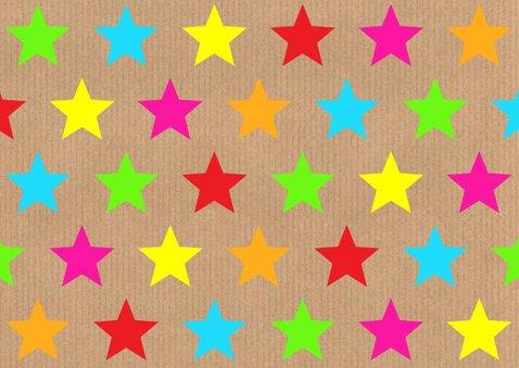 Felicitatie communie gekleurde sterren kraft labelprint 2