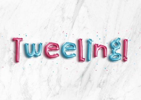 Felicitatie folieballon blauw/roze 'Hoera, een tweeling!' 2