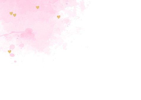 Felicitatie geboorte meisje aquarel hartjes roze 2