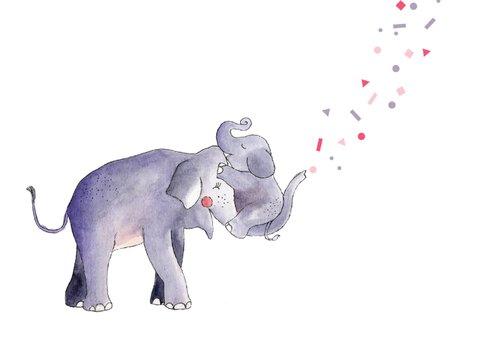 Felicitatie geboorte meisje illustratie olifant en jong  3