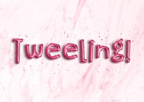 Felicitatie 'Hoera, een tweeling!' folieballon roze 2