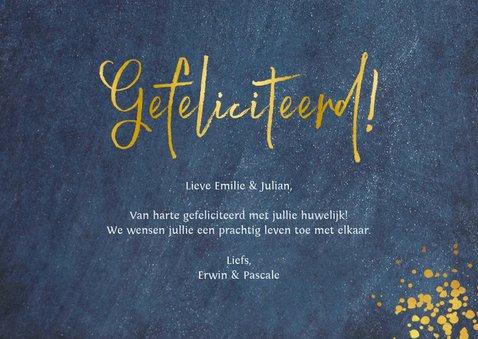 Felicitatie huwelijk Mr & Mrs - stijlvol blauw met goudlook 3
