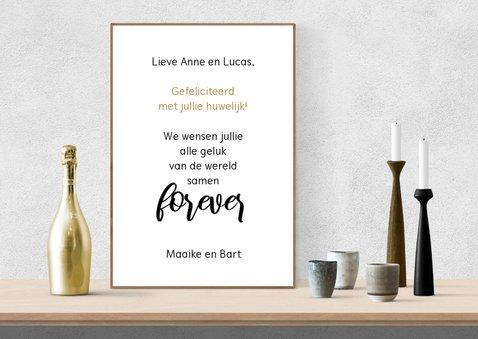 Felicitatie huwelijk tekst op interieurposter 3