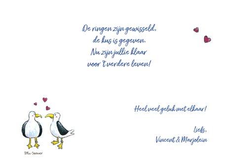 Felicitatie huwelijk,  zeemeeuwen op de kade 3