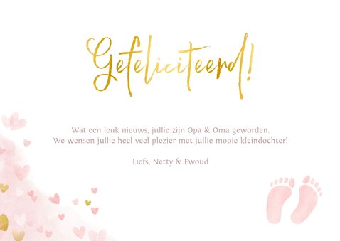 Felicitatie kaart geboorte kleindochter met hartje en voetje 3