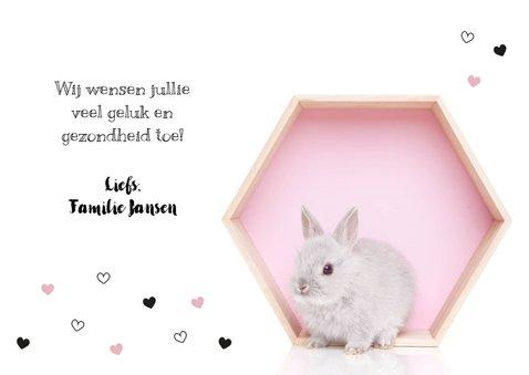 Felicitatie kaart - Geboorte - Lief konijntje roze hartjes 3