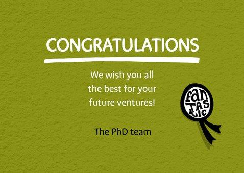 Felicitatie kaart voor een doctoraat met handlettering 3