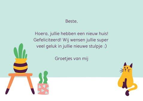 Felicitatie nieuwe woning trendy cactus kat poes 3