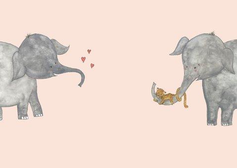 Felicitatie tweeling olifanten meisjes 2