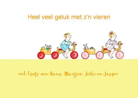 Felicitatie-tweeling op fietsjes 3