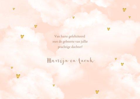 Felicitatie wolken hartjes goudlook meisje geboorte 3