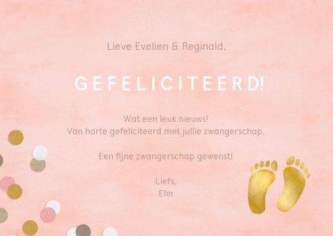 Felicitatie zwangerschap vrolijk roze met confetti 3