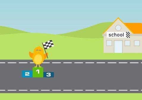 Felicitatiekaart  4e verjaardag met vogel in Formule 1 auto 3