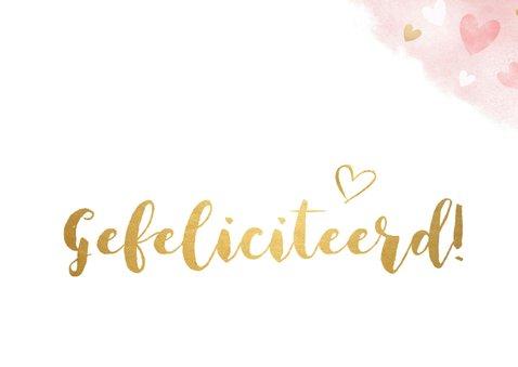Felicitatiekaart communie - roze waterverf met gouden hartje 2