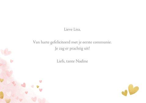 Felicitatiekaart communie - roze waterverf met gouden hartje 3