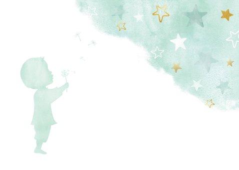 Felicitatiekaart geboorte jongen - waterverf gouden sterren 2