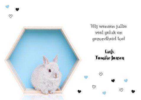 Felicitatiekaart - Geboorte - Lief konijntje blauw hartjes 3