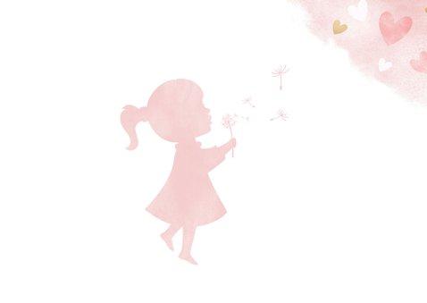 Felicitatiekaart geboorte meisje - waterverf gouden hartjes 2