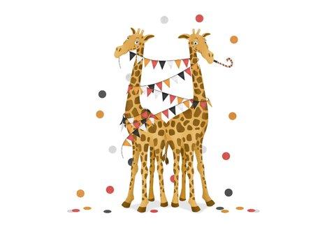 Felicitatiekaart geboorte tweeling meisjes feest giraf  2