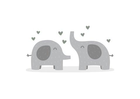 Felicitatiekaart geboorte tweeling olifantjes met hartjes 2