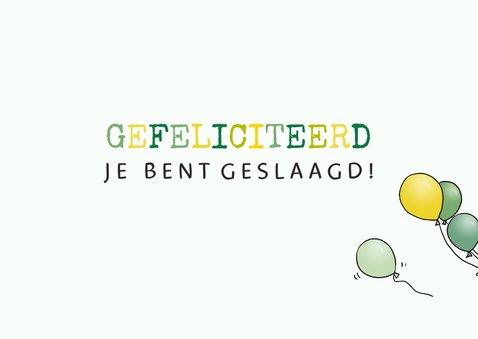 Felicitatiekaart geslaagd Mini groen 3