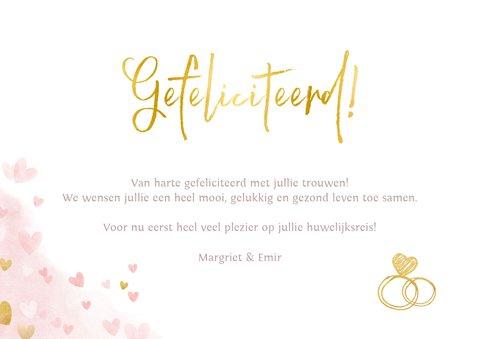Felicitatiekaart getrouwd - mr. & mrs. waterverf en hartjes 3