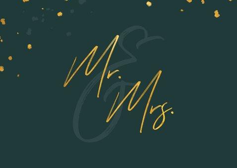 Felicitatiekaart huwelijk gouden 'mr & mrs' met confetti 2