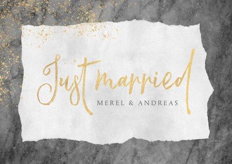 Felicitatiekaart huwelijk met marmer, goud en typografie 2